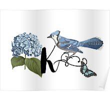 Bluebird Vintage Floral Initial K Poster