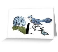 Bluebird Vintage Floral Initial L Greeting Card