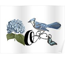 Bluebird Vintage Floral Initial O Poster