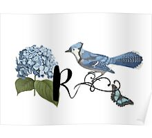 Bluebird Vintage Floral Initial R Poster