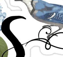 Bluebird Vintage Floral Initial S Sticker