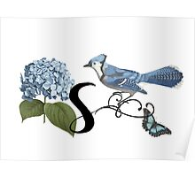 Bluebird Vintage Floral Initial S Poster
