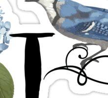 Bluebird Vintage Floral Initial T Sticker