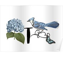 Bluebird Vintage Floral Initial T Poster