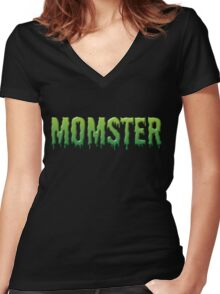 Green Drippy Momster Typography Women's Fitted V-Neck T-Shirt