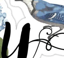 Bluebird Vintage Floral Initial U Sticker