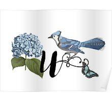 Bluebird Vintage Floral Initial U Poster