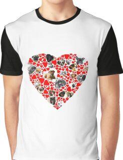 Valentine Hearts Love Dog Photo Collage Graphic T-Shirt