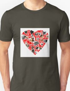 Valentine Hearts Love Dog Photo Collage Unisex T-Shirt