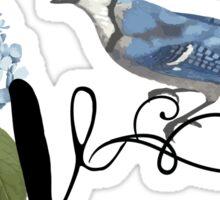 Bluebird Vintage Floral Initial V Sticker