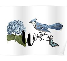 Bluebird Vintage Floral Initial W Poster