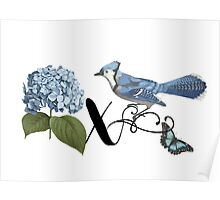 Bluebird Vintage Floral Initial X Poster