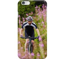 Mountain biker on trails iPhone Case/Skin