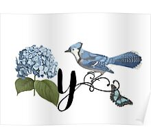 Bluebird Vintage Floral Initial Y Poster