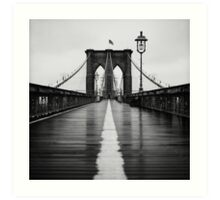Brooklyn Bridge In Rain Art Print
