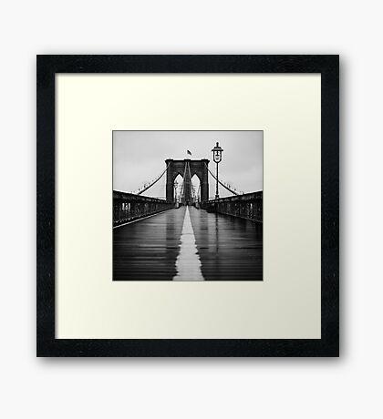 Brooklyn Bridge In Rain Framed Print