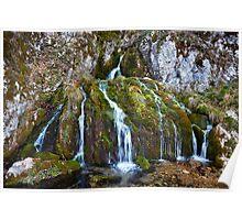 Waterfall on mossy rocks Poster