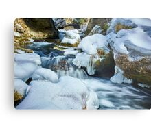 Frozen river on mountains Metal Print