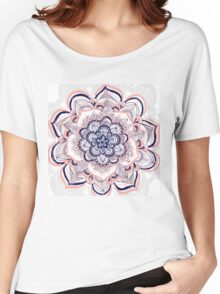 Woven Dream - Pink, Navy & White Mandala Women's Relaxed Fit T-Shirt