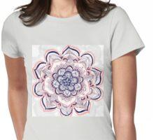 Woven Dream - Pink, Navy & White Mandala Womens Fitted T-Shirt