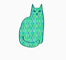 Mid-Century Modern Cat, Mint and Lime Green Womens Fitted T-Shirt