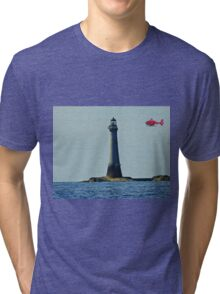 Northern Lighthouse Board Helicopter and Chicken Rock Lighthouse. Tri-blend T-Shirt