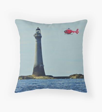 Northern Lighthouse Board Helicopter and Chicken Rock Lighthouse. Throw Pillow
