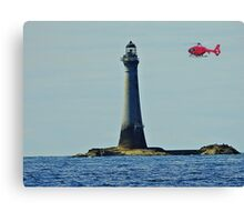 Northern Lighthouse Board Helicopter and Chicken Rock Lighthouse. Canvas Print