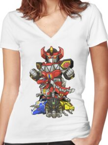 Dinosaur Robots Women's Fitted V-Neck T-Shirt