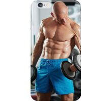 Man doing biceps curl in gym iPhone Case/Skin