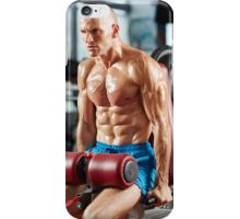 Athletic man doing triceps workout iPhone Case/Skin