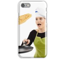 Cook about to drop a flipping pancake iPhone Case/Skin