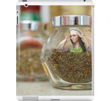 Conceptual shot of a woman cook inside a jar of condiments iPad Case/Skin