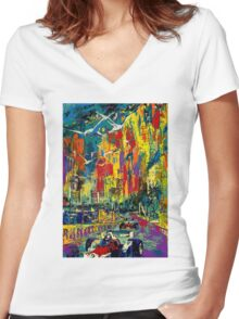 """""""MONACO GRAND PRIX"""" Vintage Auto Racing Painting Print Women's Fitted V-Neck T-Shirt"""
