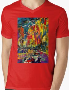 """MONACO GRAND PRIX"" Vintage Auto Racing Painting Print Mens V-Neck T-Shirt"