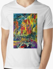 """MONACO GRAND PRIX"" Vintage Auto Racing Painting Print Mens V-Neck T-Shirt"
