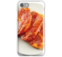 Pork neck slices on a plate iPhone Case/Skin