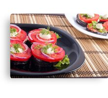 Vegetable dishes of stewed eggplant and fresh tomato close-up Canvas Print