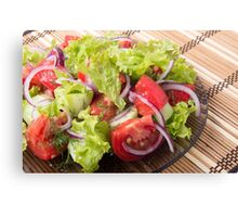 Fragment of vegetarian salad from fresh vegetables Canvas Print