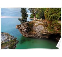 Rocky Cliffs at Cave Point Poster