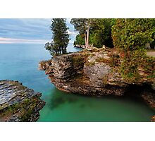 Rocky Cliffs at Cave Point Photographic Print