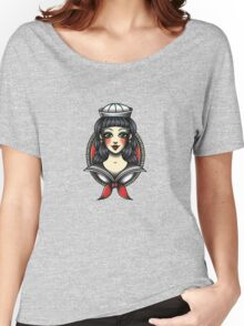 Nautical Sailor Lady  Women's Relaxed Fit T-Shirt