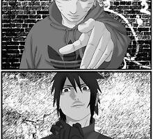 Naruto/Sasuke Roadman (UK Street clothing) B/W by BK4REVENGE