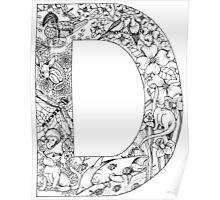 Animal Alphabet Letter D Poster