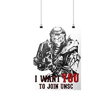 Master Chief - I WANT YOU! Poster Parody Photographic Print