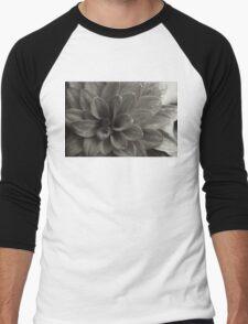 Black and White Flower 2 Men's Baseball ¾ T-Shirt