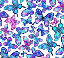 Watercolor Fruit Patterned Butterflies - aqua and sapphire by micklyn