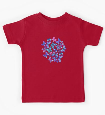 Watercolor Fruit Patterned Butterflies - aqua and sapphire Kids Tee