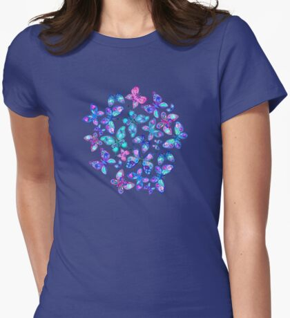 Watercolor Fruit Patterned Butterflies - aqua and sapphire Womens Fitted T-Shirt