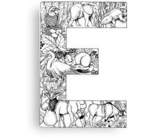 Animal Alphabet Letter E Canvas Print